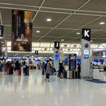 成田空港JALとマレーシア航空チェックインカウンターの混雑状況