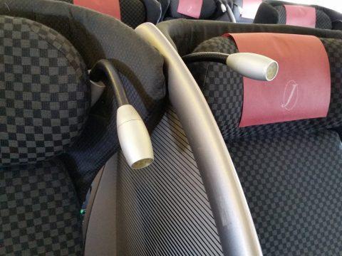 JAL国際線機材クラスJビジネスクラスシートの読書灯