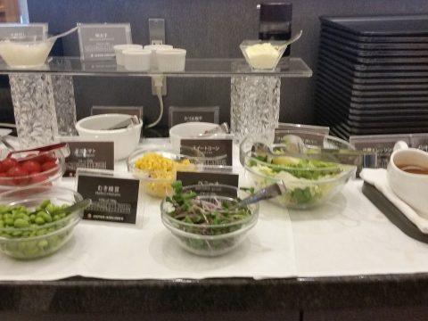 アメリカン航空ラウンジの野菜と明太子