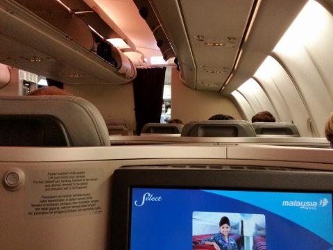 マレーシア航空ビジネスクラスA330シドニー行きの機内