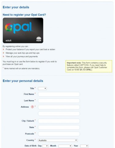 Opalカード登録