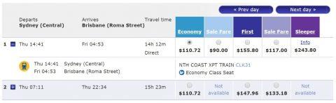 シドニーXPT列車チケット