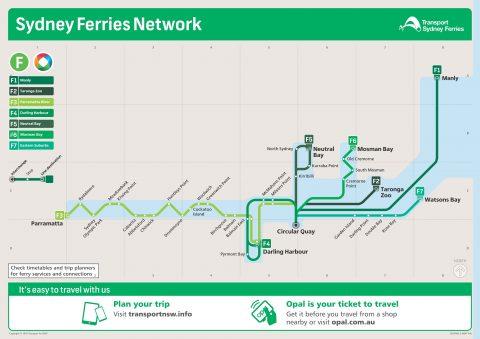 シドニーフェリー路線図