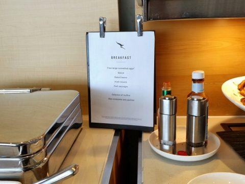 シドニー空港カンタス航空ビジネスラウンジの朝食メニュー