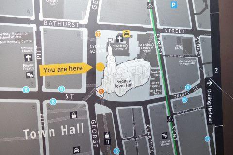 シドニー・タウンホールのMAP