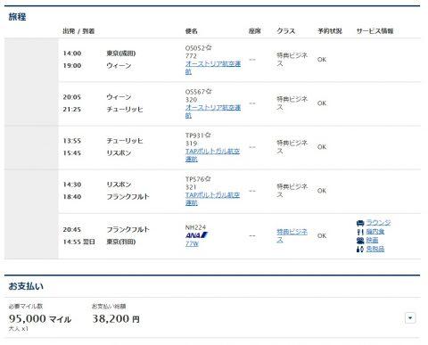 ANA提携会社特典航空券のルーティング