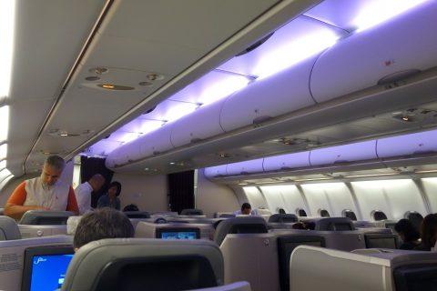マレーシア航空A330ビジネスクラスKL~成田の照明