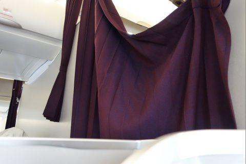 マレーシア航空A330ビジネスクラスのカーテン