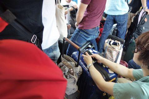 ゆいレールのスーツケース置き場