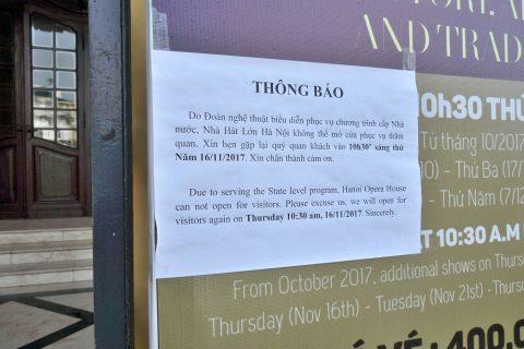 ハノイ・オペラハウスの公開停止