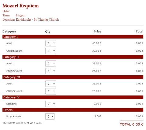 カールス教会コンサートチケット価格