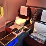 カタール航空B777-200ビジネスクラス搭乗記!成田~ドーハ/シート&アメニティ