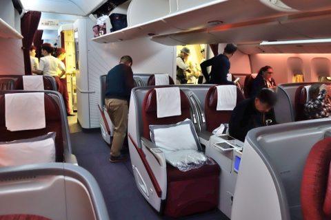 カタール航空b777-200ビジネスクラスのシート配列