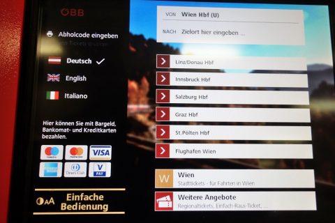 OBB券売機のタッチパネル