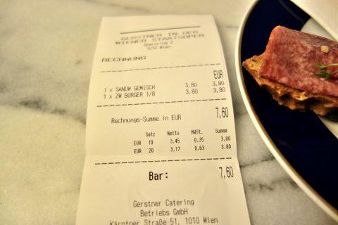 ウィーン国立オペラ座Barのサンドイッチの価格