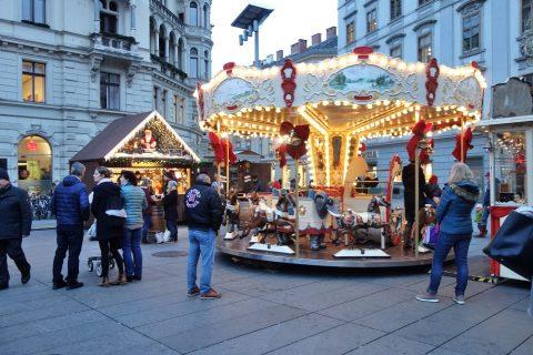 グラーツ中央広場のメリーゴーランド