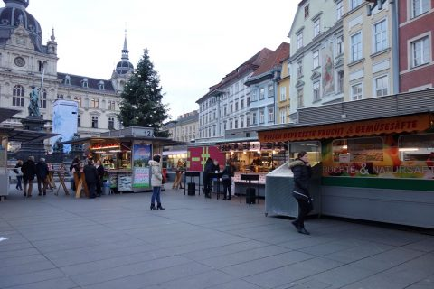 Graz-Hauptplatzの露店