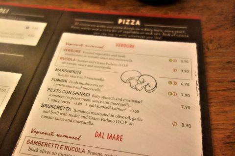 vapiano-grazのpizzaメニュー