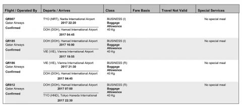 カタール航空Eチケット