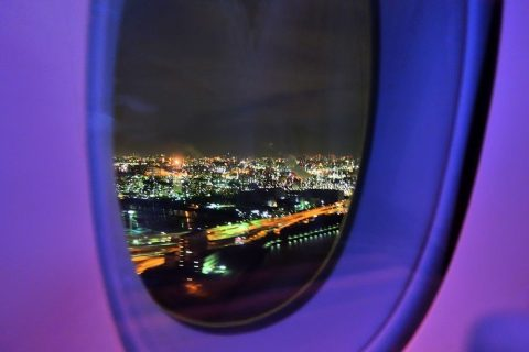 夜景/カタール航空ビジネスクラス