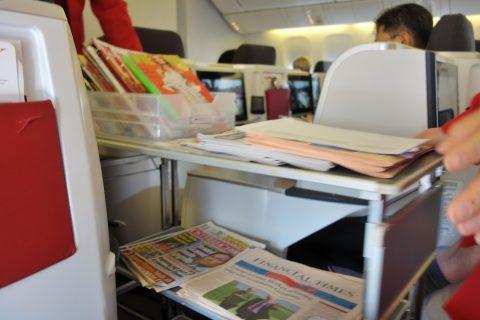 新聞のサービス/オーストリア航空ビジネスクラス