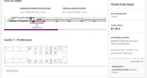 renfeの座席選択画面