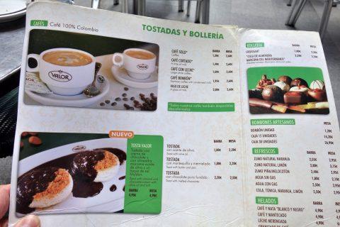 valor-madrid/コーヒーメニュー