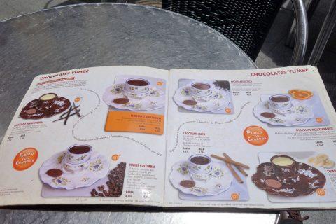 valor-madrid/チョコレートドリンクメニュー