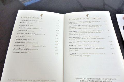 Julius-Meinl-wien/コーヒーとケーキのメニュー