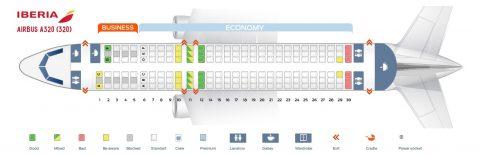 イベリア航空A320シートマップ