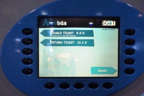aerobus-barcelona/券売機の画面