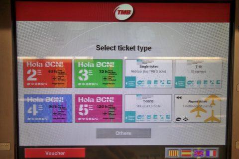 バルセロナメトロ券売機の画面
