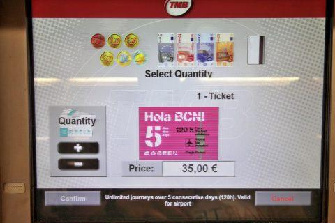 バルセロナメトロ券売機クレジットカード