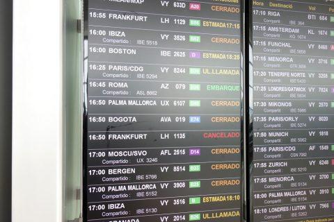ルフトハンザ航空キャンセルの表示