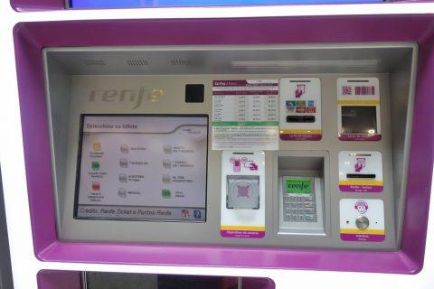 Renfe券売機の画面