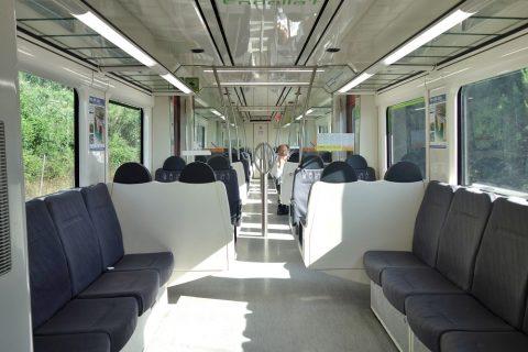 カタルーニャ鉄道の車内