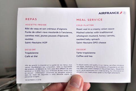 airfrance-businessclass-geneva-paris/機内食メニュー