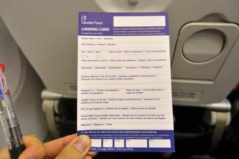airfrance-businessclass/イギリス入国カード