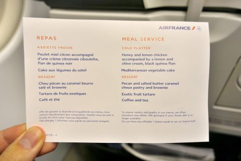 airfrance-businessclass-paris-london/機内食メニュー