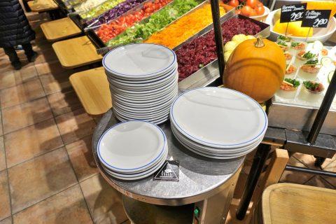 セルフ式レストラン/皿のサイズ