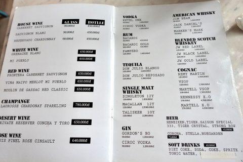 Papaya-cafeのアルコールメニュー