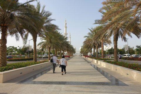 Sheikh-Zayed-Mosque/モスクへの並木道