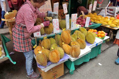 mongkok-market-hongkong/ドリアンの販売