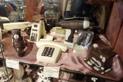 chocolate-museum-sankt-petersburg/電話のチョコ