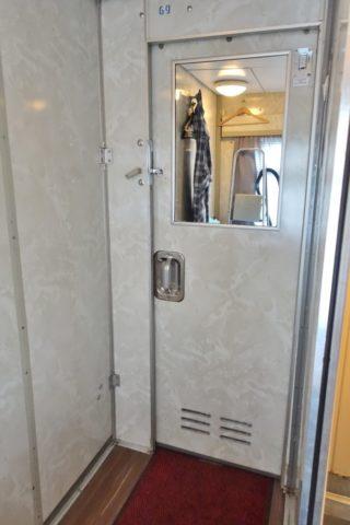 シベリア鉄道シャワールームの鏡