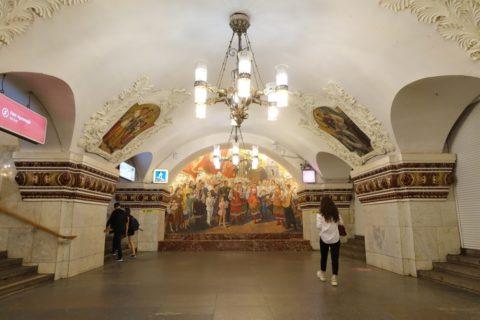 moscow-metro/キエフスカヤ駅の大きな絵画