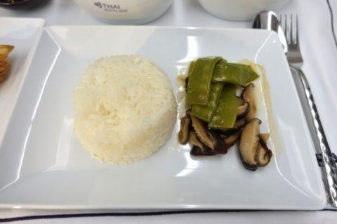 thai-airways-businessclass/ジャスミンライスと野菜