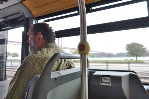 リスボンバスの停車ボタン