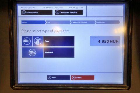 budapest-transport/券売機の決済画面クレジットカード