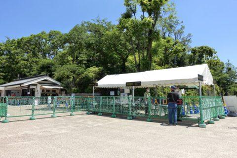 大阪城の検温、コロナ対策